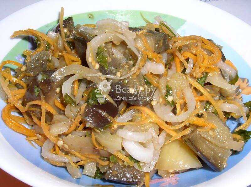 Korean eggplant recipe for the winter with cabbage, photo